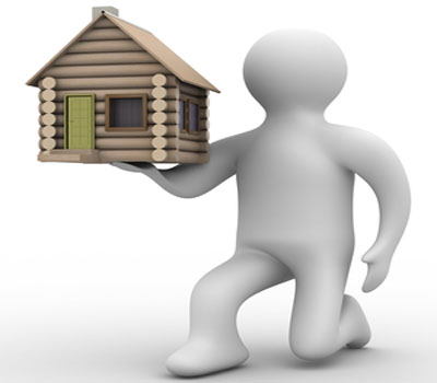 man offering house (to woman)